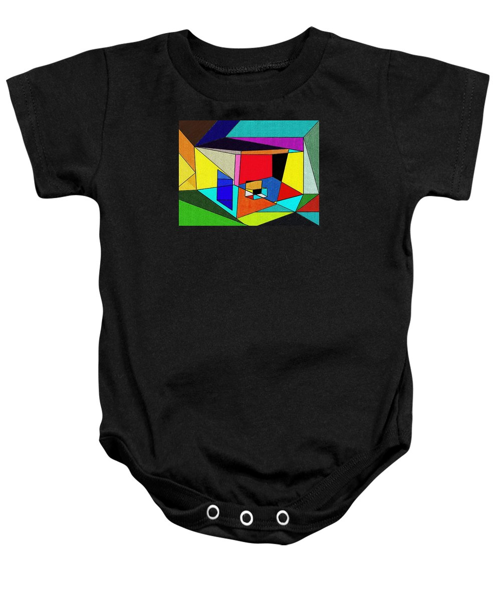 Abstract Baby Onesie featuring the painting Geometry by Jim Buchanan
