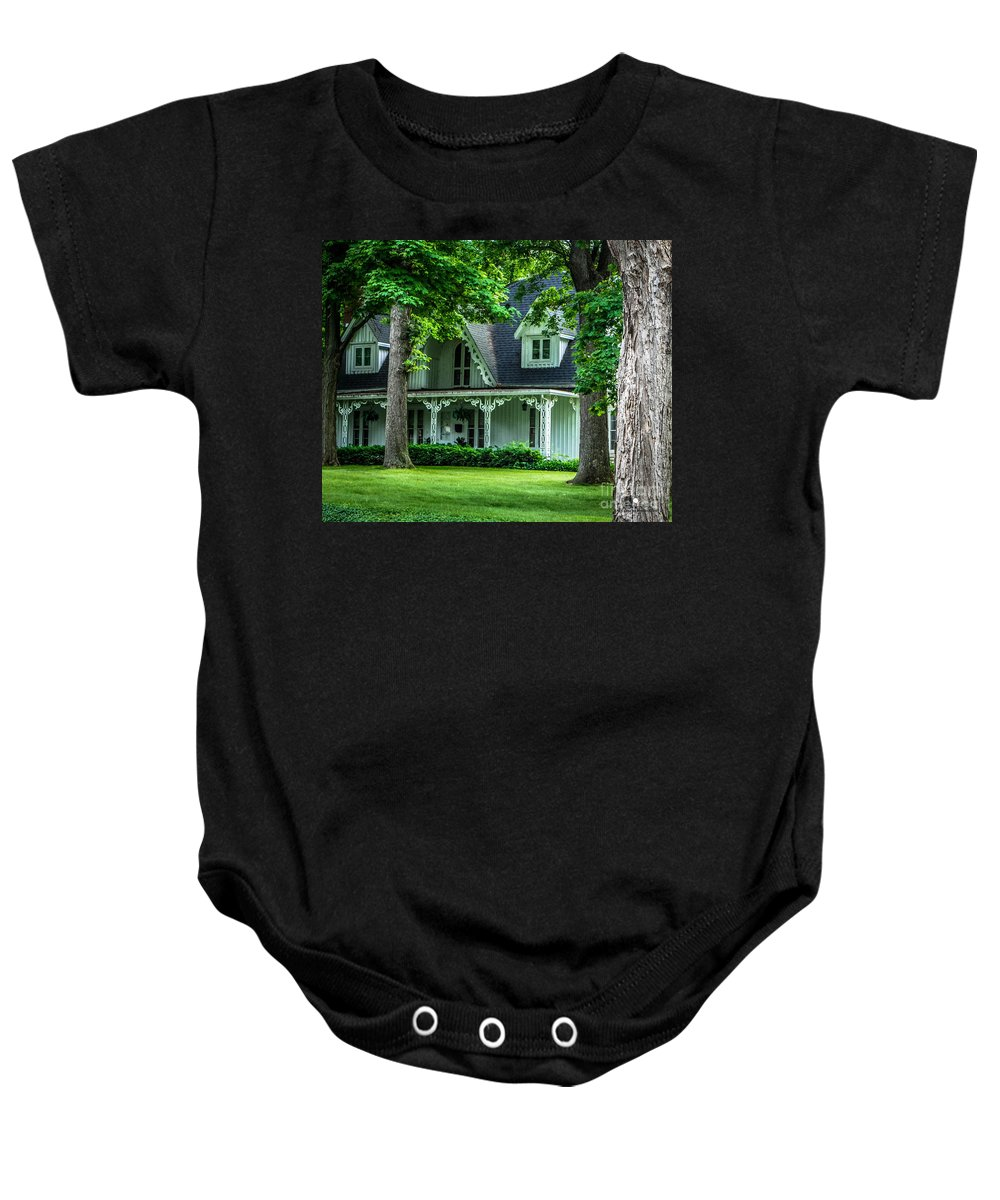 Eaton Rapids Baby Onesie featuring the photograph Gingerbread House by Grace Grogan