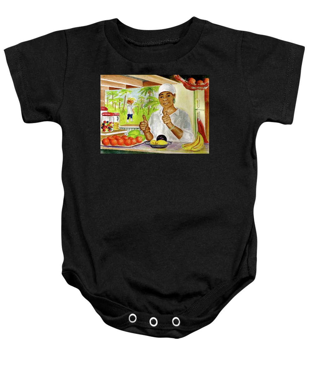Dominica Girl Fruit Mountain Thumbs Up Basket On Head Jaco Falls Baby Onesie featuring the painting Girl In Dominica Mountains by Frank Hunter