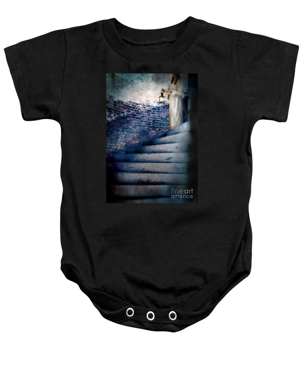 Girl Baby Onesie featuring the photograph Girl In Nightgown On Circular Stone Steps by Jill Battaglia