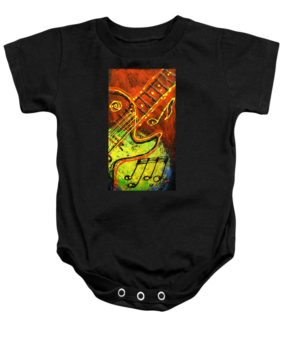 Paintings Paintings Baby Onesie featuring the painting Gitar by Leon Zernitsky