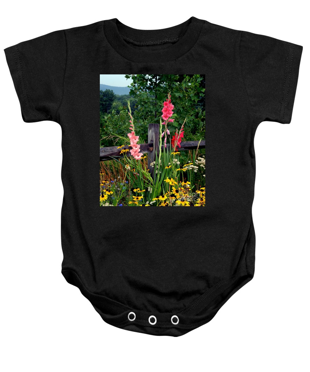 Flowers Baby Onesie featuring the photograph Glad Split Rail II by Jeff McJunkin