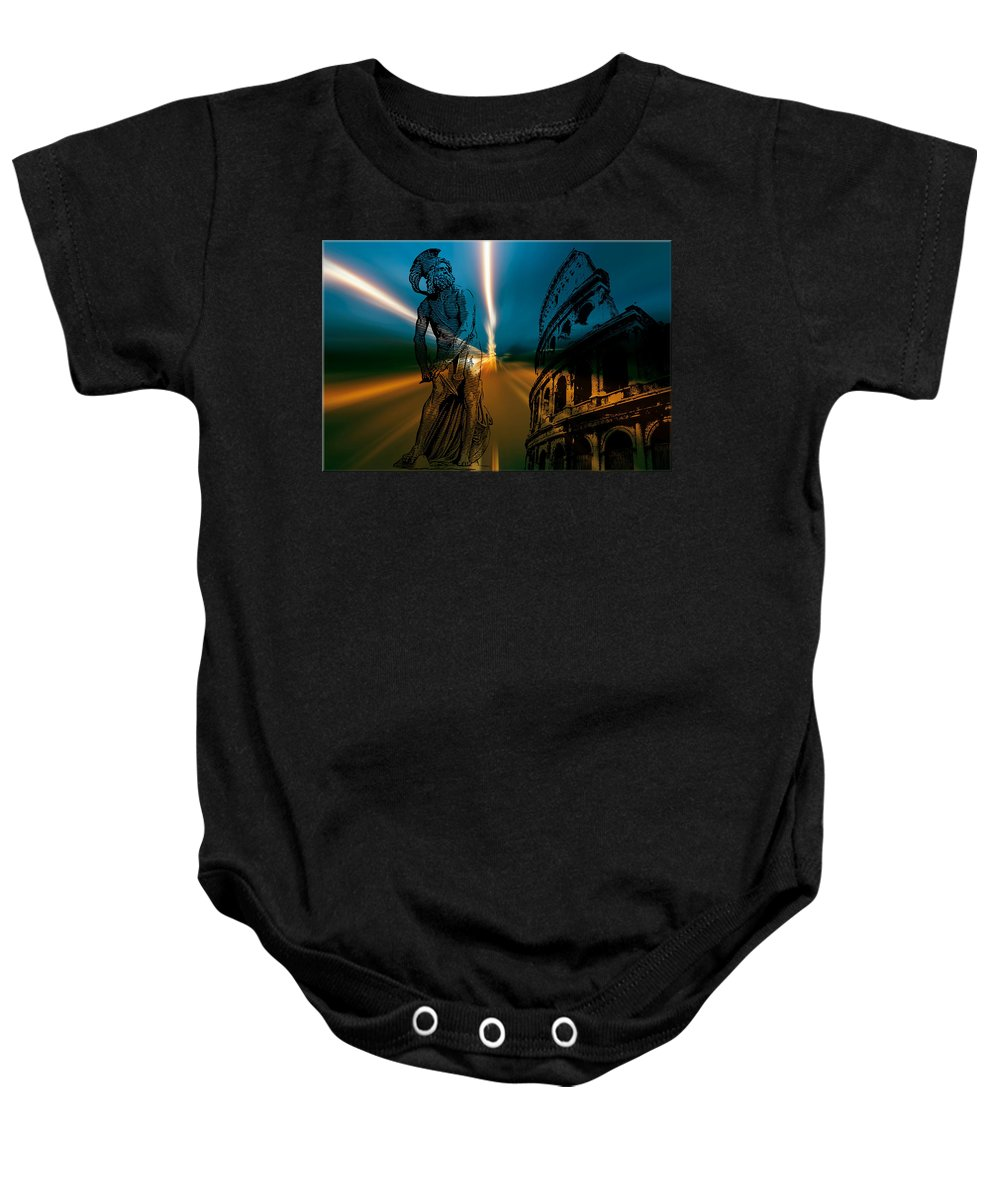 Gladiator Baby Onesie featuring the digital art Gladiator by Michael Damiani