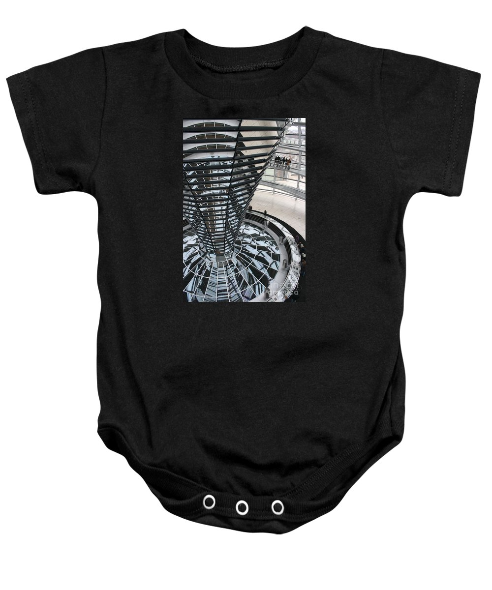Glass Cupola Baby Onesie featuring the photograph Glass Cupola - Berlin by Christiane Schulze Art And Photography