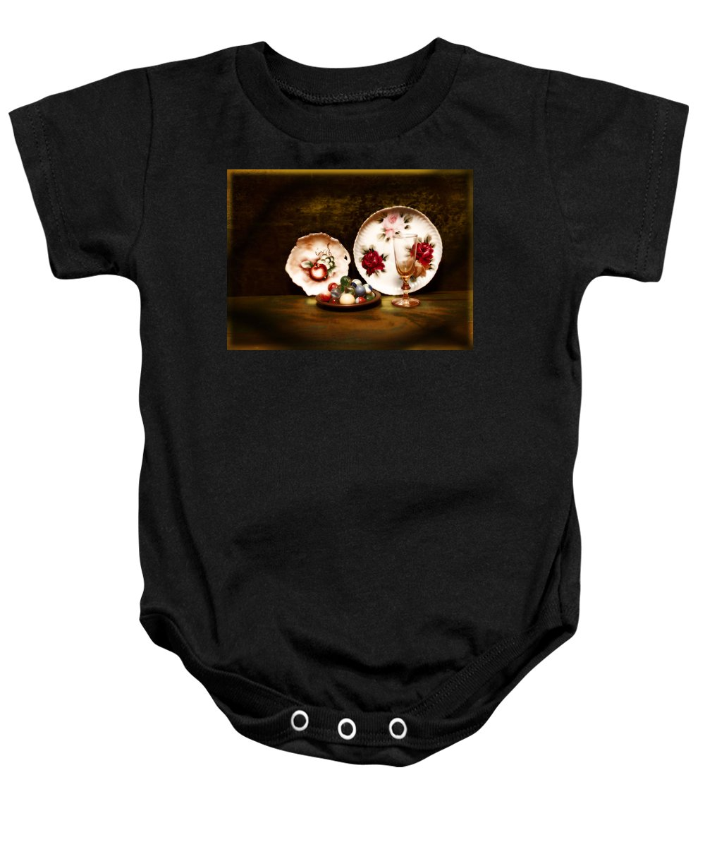 Glass Baby Onesie featuring the photograph Glassware by John Anderson