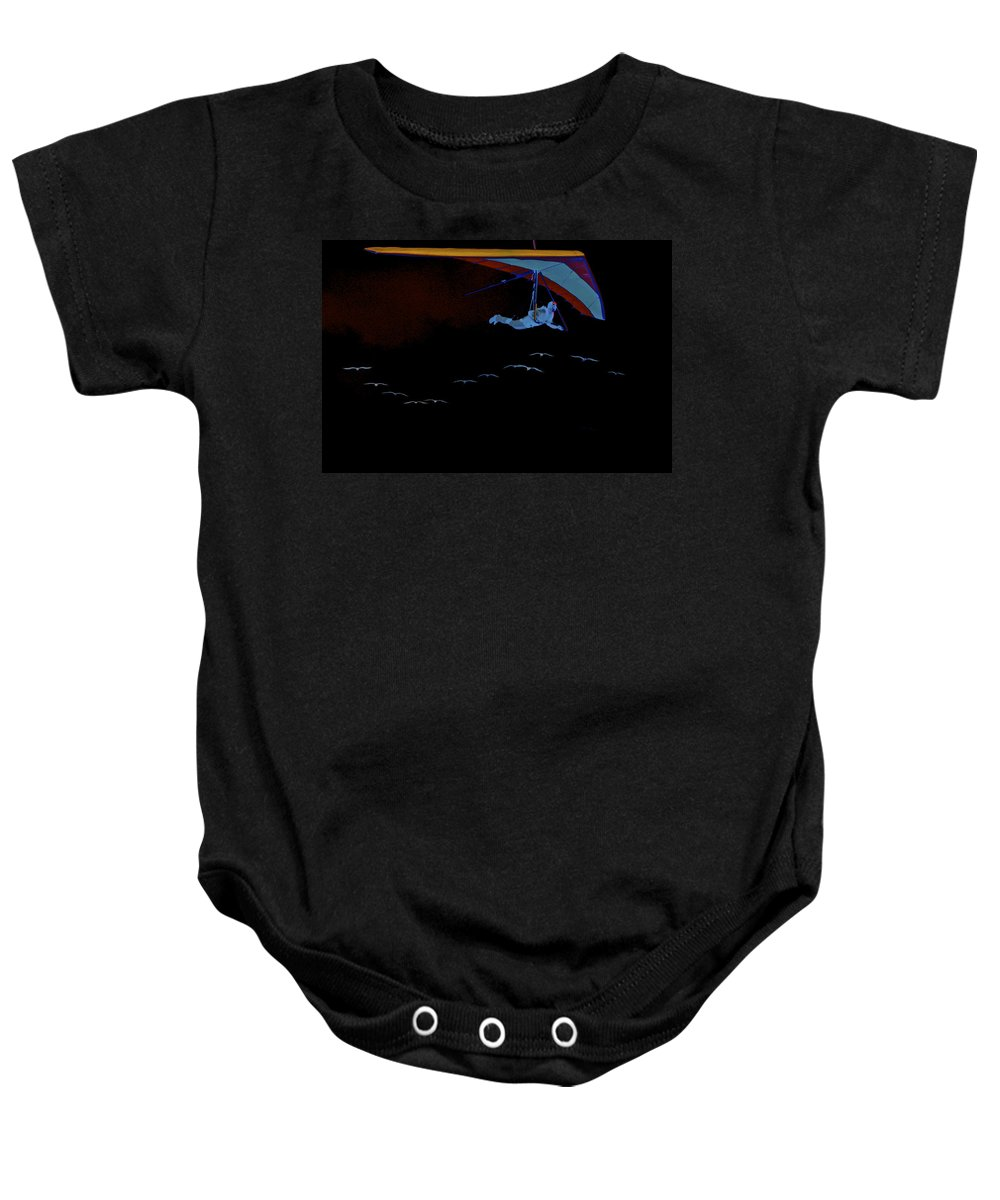 Hang Baby Onesie featuring the photograph Gliding In Black by SC Heffner