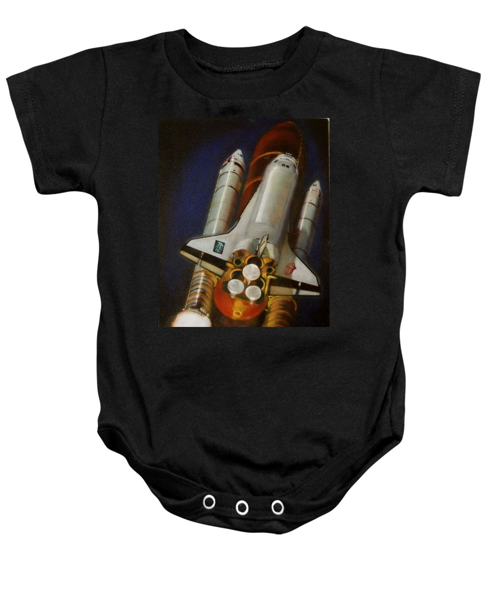 Space Shuttle;launch;liftoff;blastoff;rockets;engines;astronauts;spaceart;nasa;photorealism Baby Onesie featuring the painting God Plays Dice by Sean Connolly