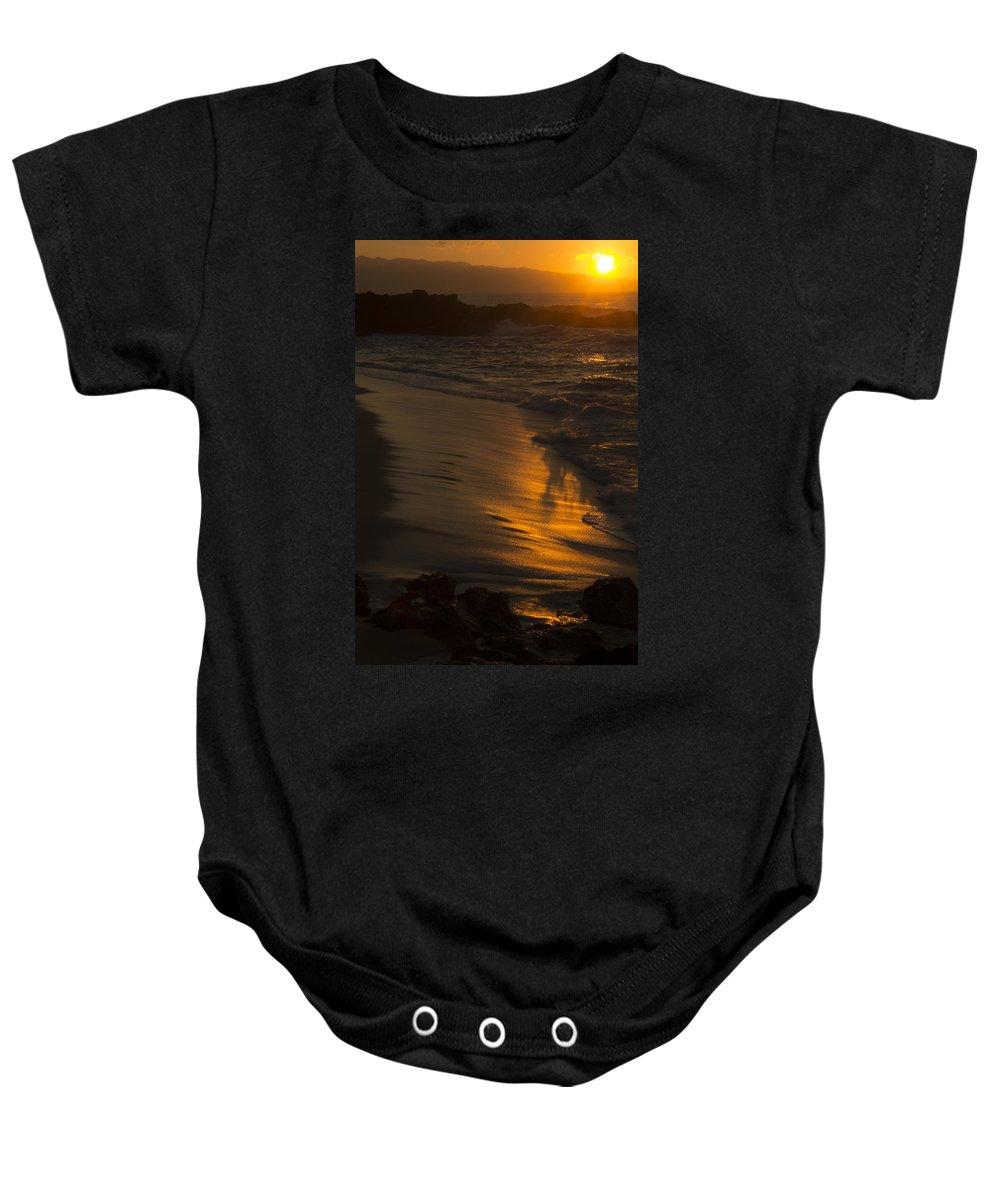 Oahu Baby Onesie featuring the photograph Golden Beach by Douglas Barnard