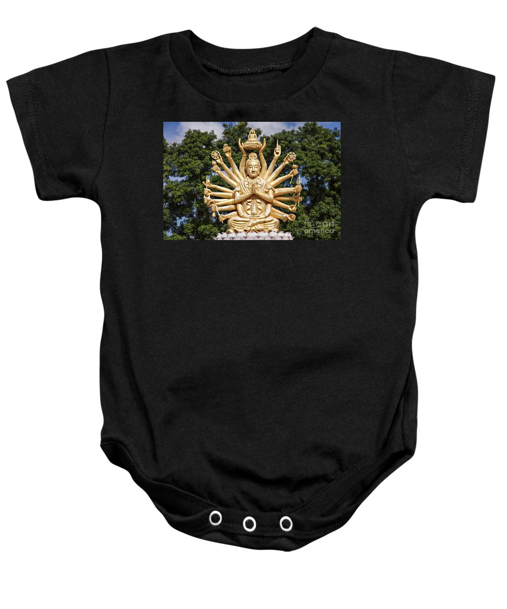 Hands Baby Onesie featuring the photograph Golden Buddha With Many Arms by Sophie McAulay