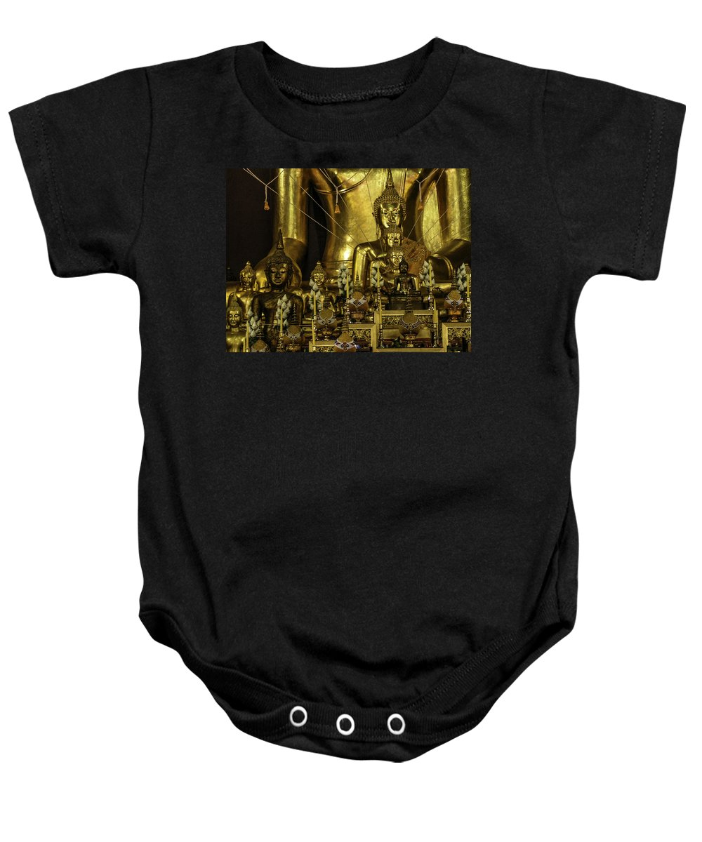 Zen Baby Onesie featuring the photograph Golden Buddhas by Lovejoy Creations