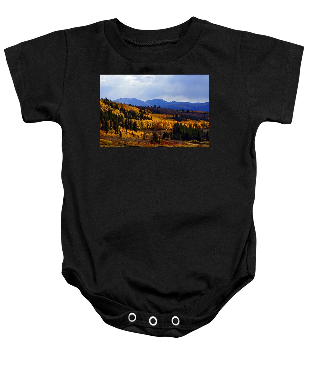 Colorado Baby Onesie featuring the photograph Golden Fourteeners by Jeremy Rhoades