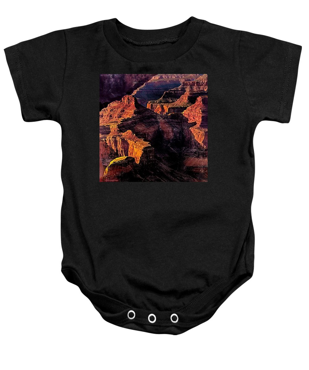 Amazing Baby Onesie featuring the photograph Golden Hour Mather Point Grand Canyon National Park by Bob and Nadine Johnston