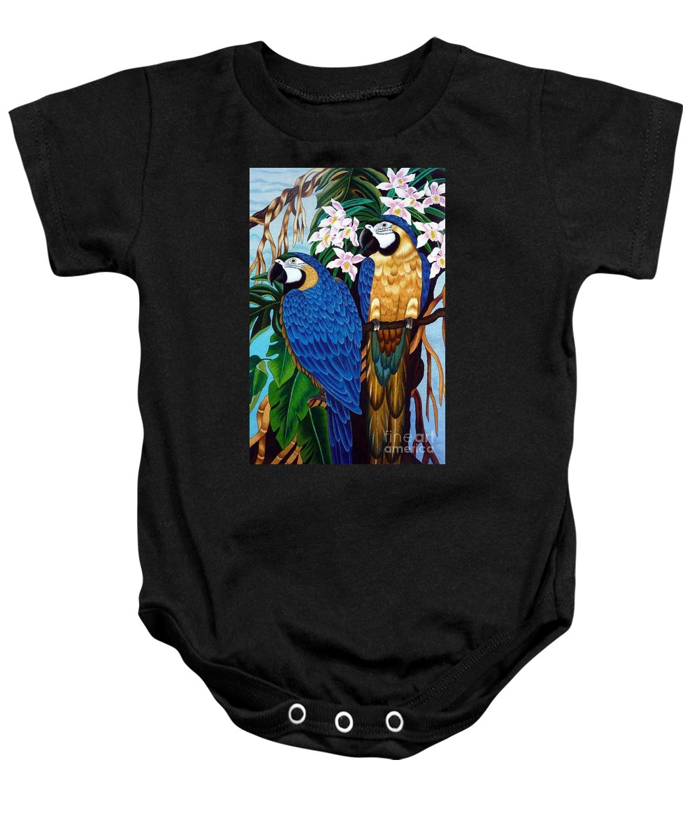 Parrot Baby Onesie featuring the tapestry - textile Golden Macaw Hand Embroidery by To-Tam Gerwe