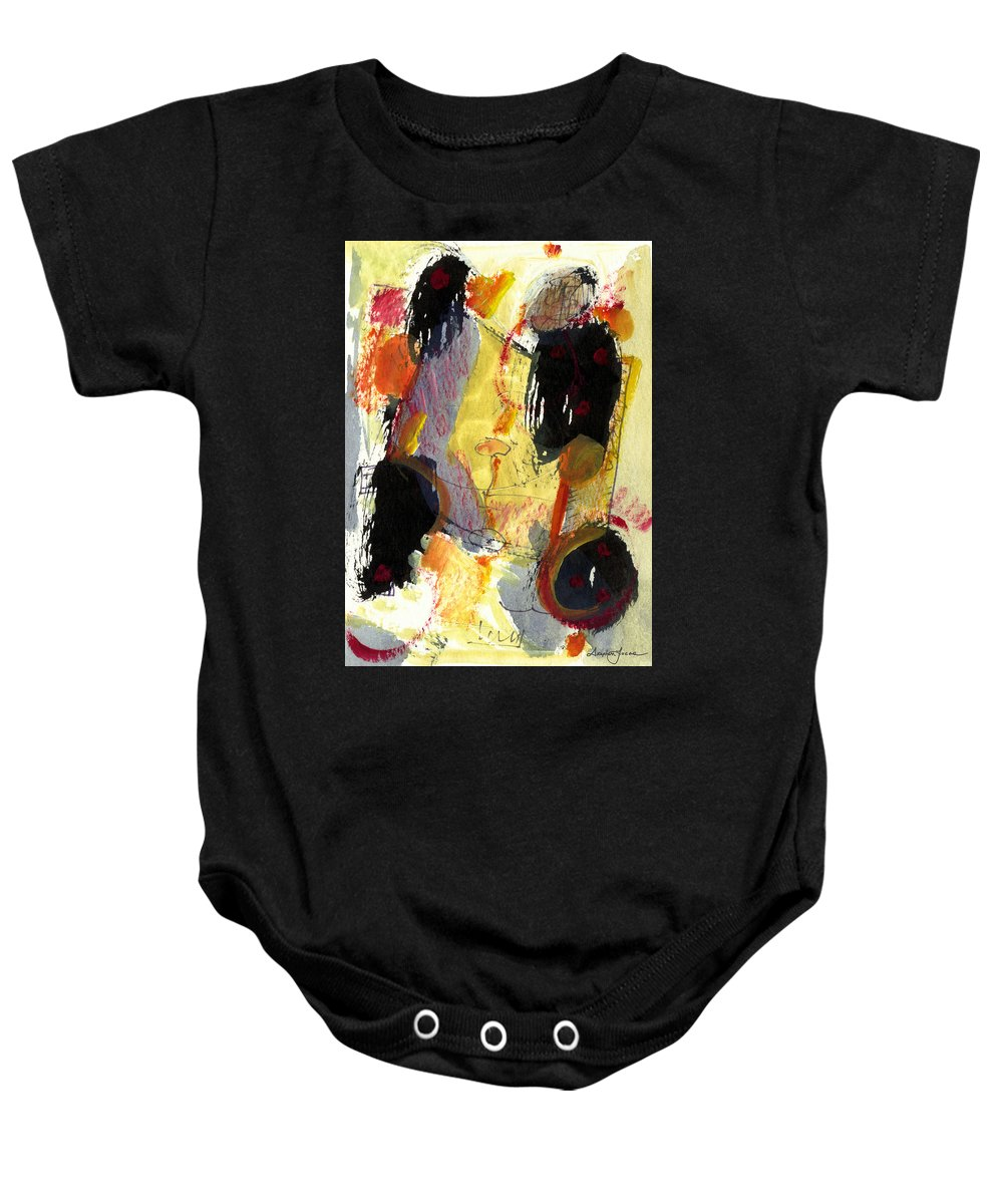 Abstract Art Baby Onesie featuring the painting Golden Moon by Stephen Lucas