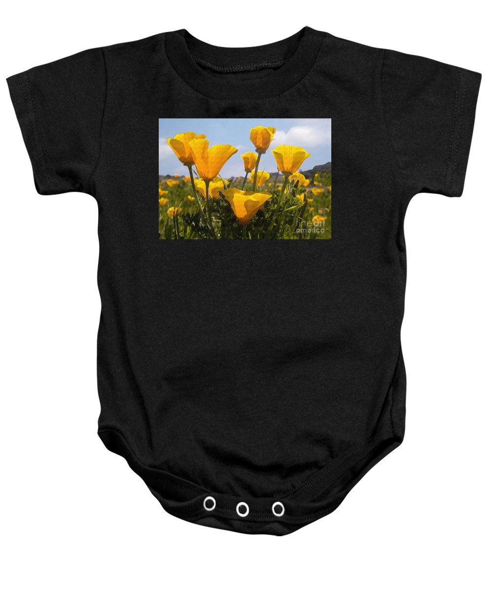 Poppy Baby Onesie featuring the photograph Golden Poppies by Sharon Foster