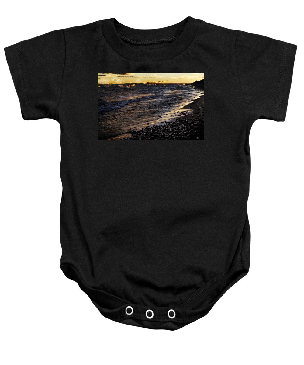Evie Baby Onesie featuring the photograph Golden Superior Shore by Evie Carrier
