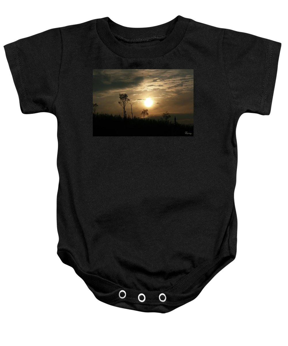 Sand Lake Sunset Northern Saskatchewan Sky Clouds Trees Sun Bush Country Forest Nature Baby Onesie featuring the photograph Good Night by Andrea Lawrence