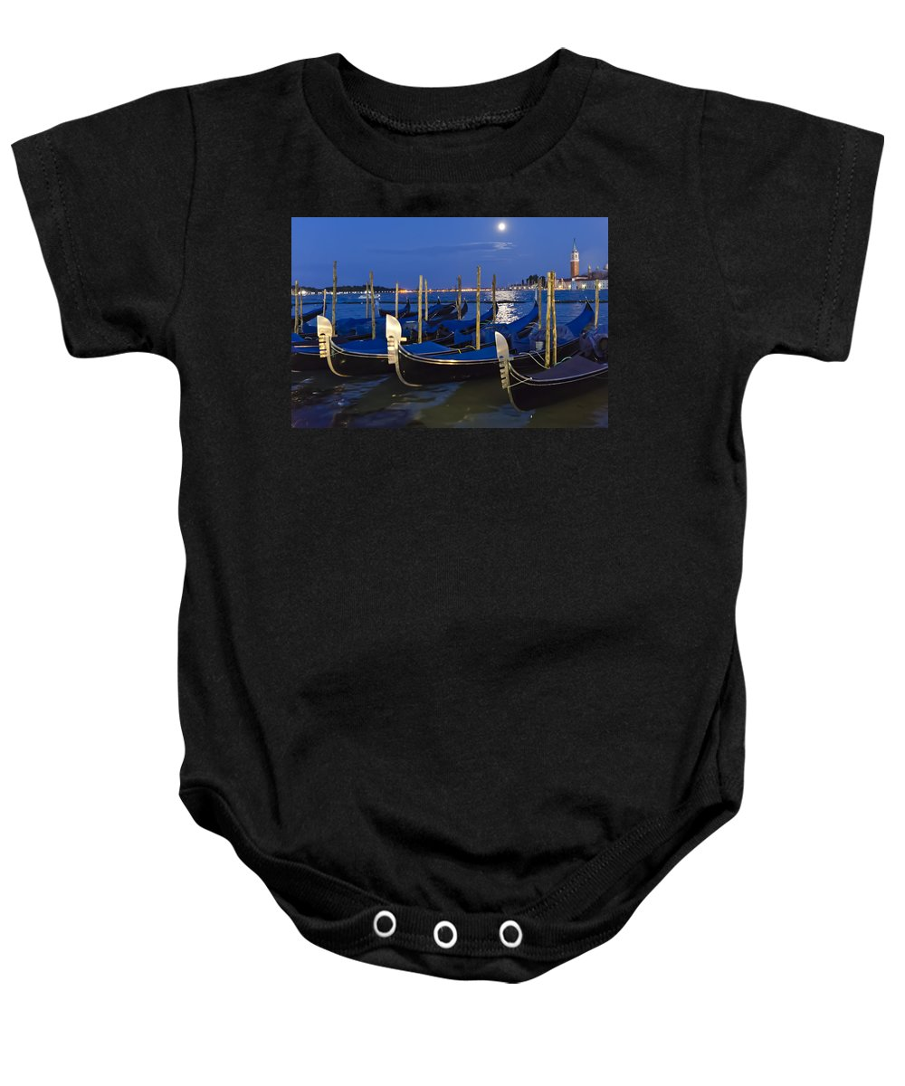 Gondola Baby Onesie featuring the photograph Good Night Venice by Jon Berghoff