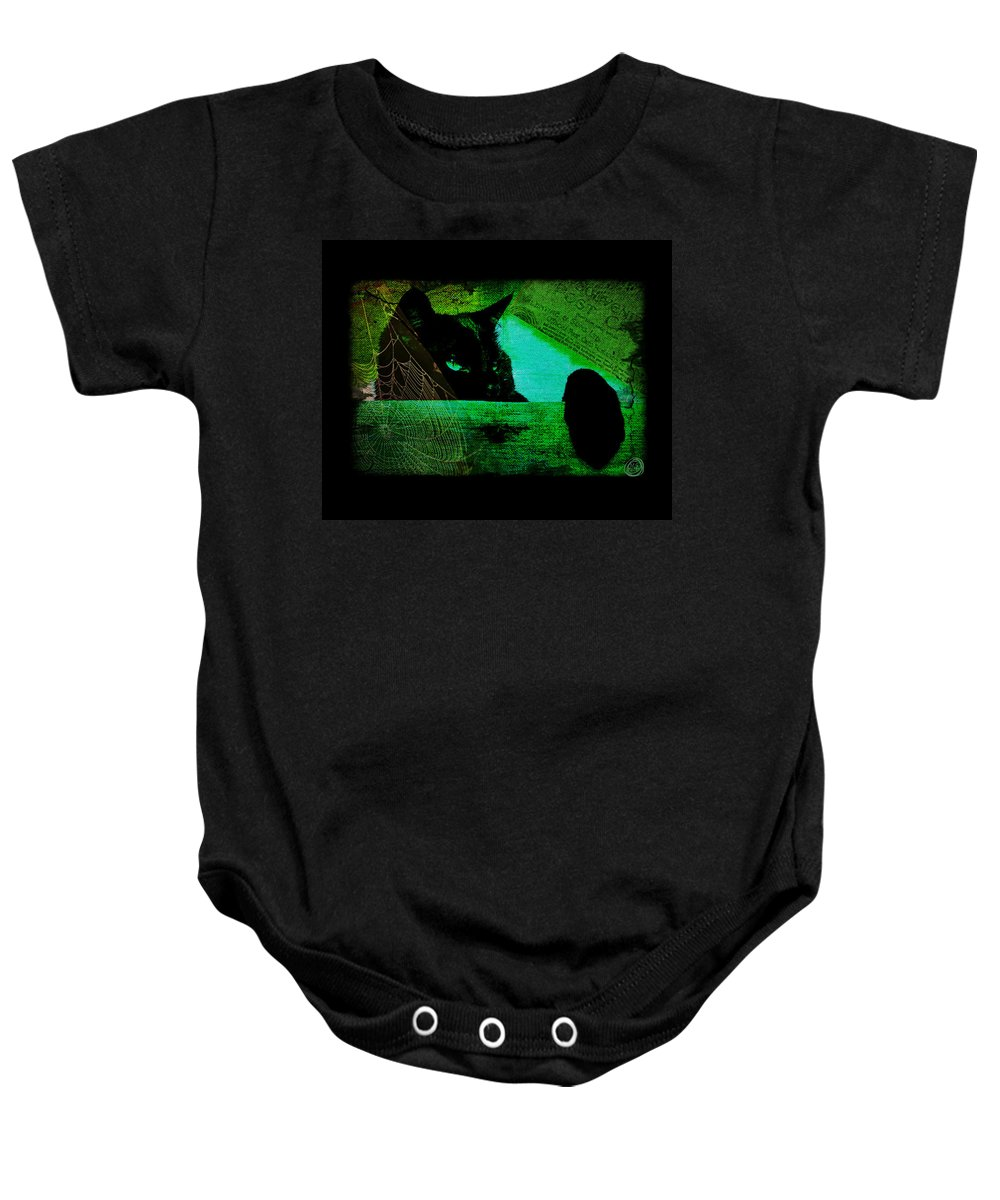 Cat Baby Onesie featuring the digital art Gothic Black Cat by Absinthe Art By Michelle LeAnn Scott