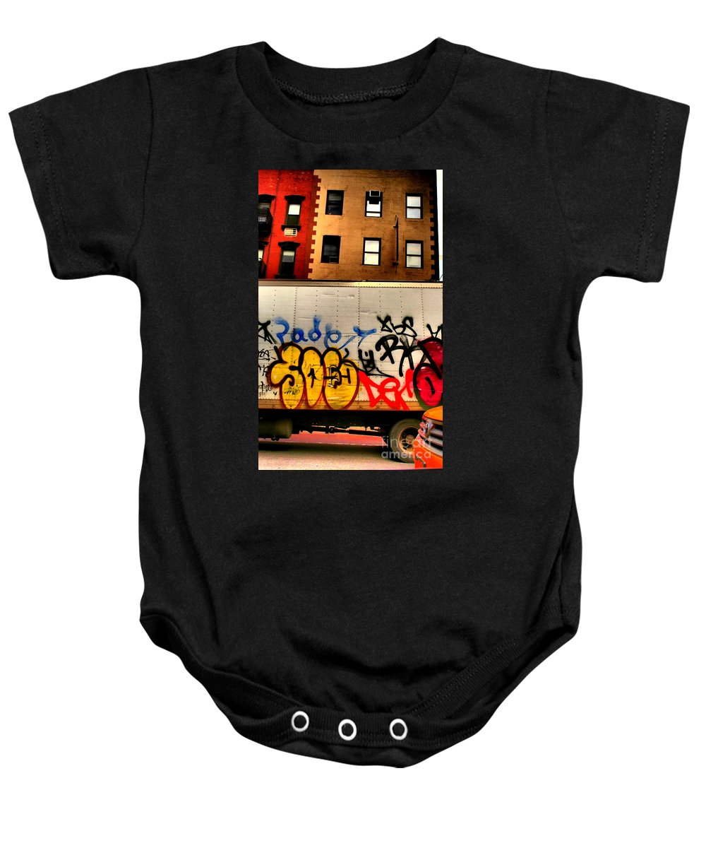 Street Art Baby Onesie featuring the photograph Graffit With Taxi by Miriam Danar