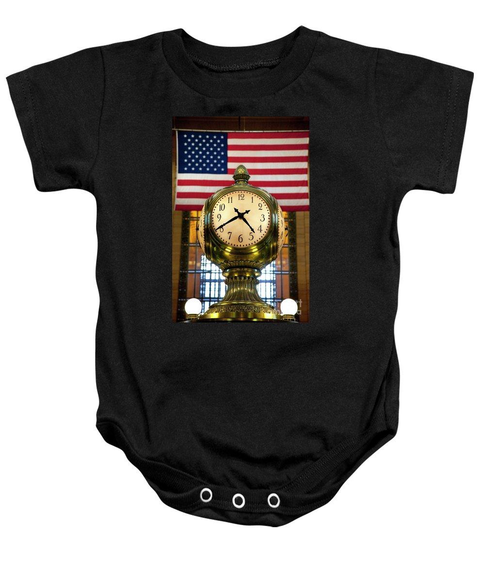Brass Baby Onesie featuring the photograph Grand Central Clock by Brian Jannsen