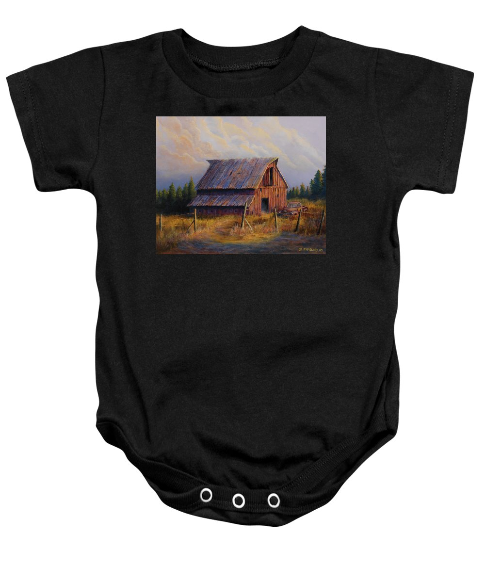 Barn Baby Onesie featuring the painting Grandpas Truck by Jerry McElroy