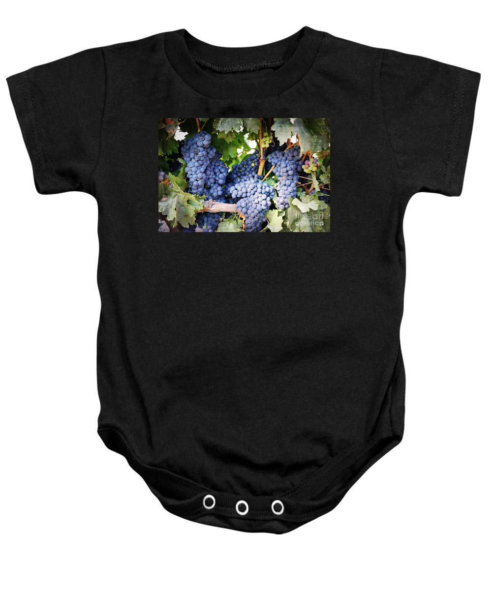 Grapes Baby Onesie featuring the photograph Grapes with Textures by Carol Groenen