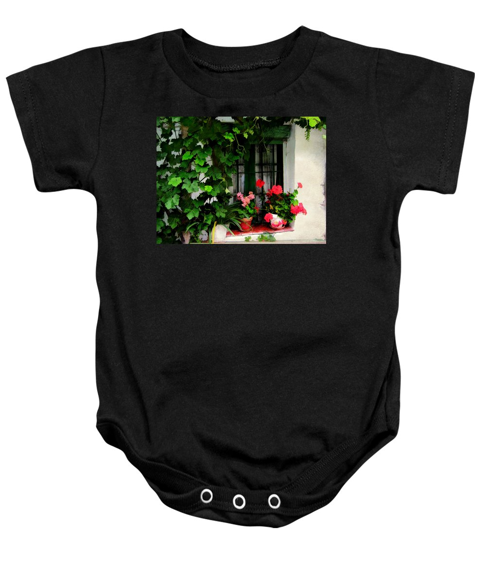 Window Building Architecture House Flowers Plants Garden Potted+plants Baby Onesie featuring the painting Grapevines And Geraniums Around A Window by Elaine Plesser