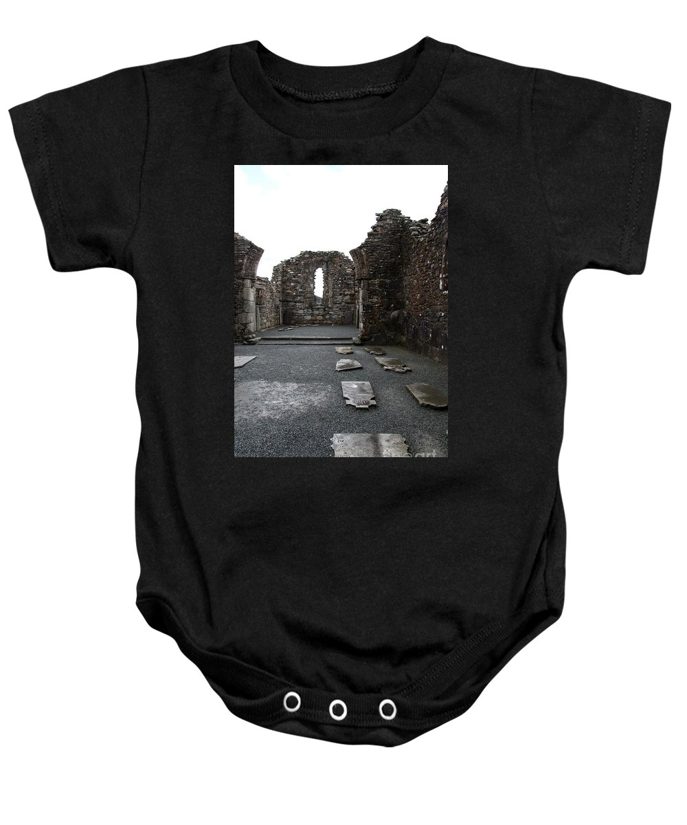 Graveyard Baby Onesie featuring the photograph Graveyard In Church Ruin - Ireland by Christiane Schulze Art And Photography