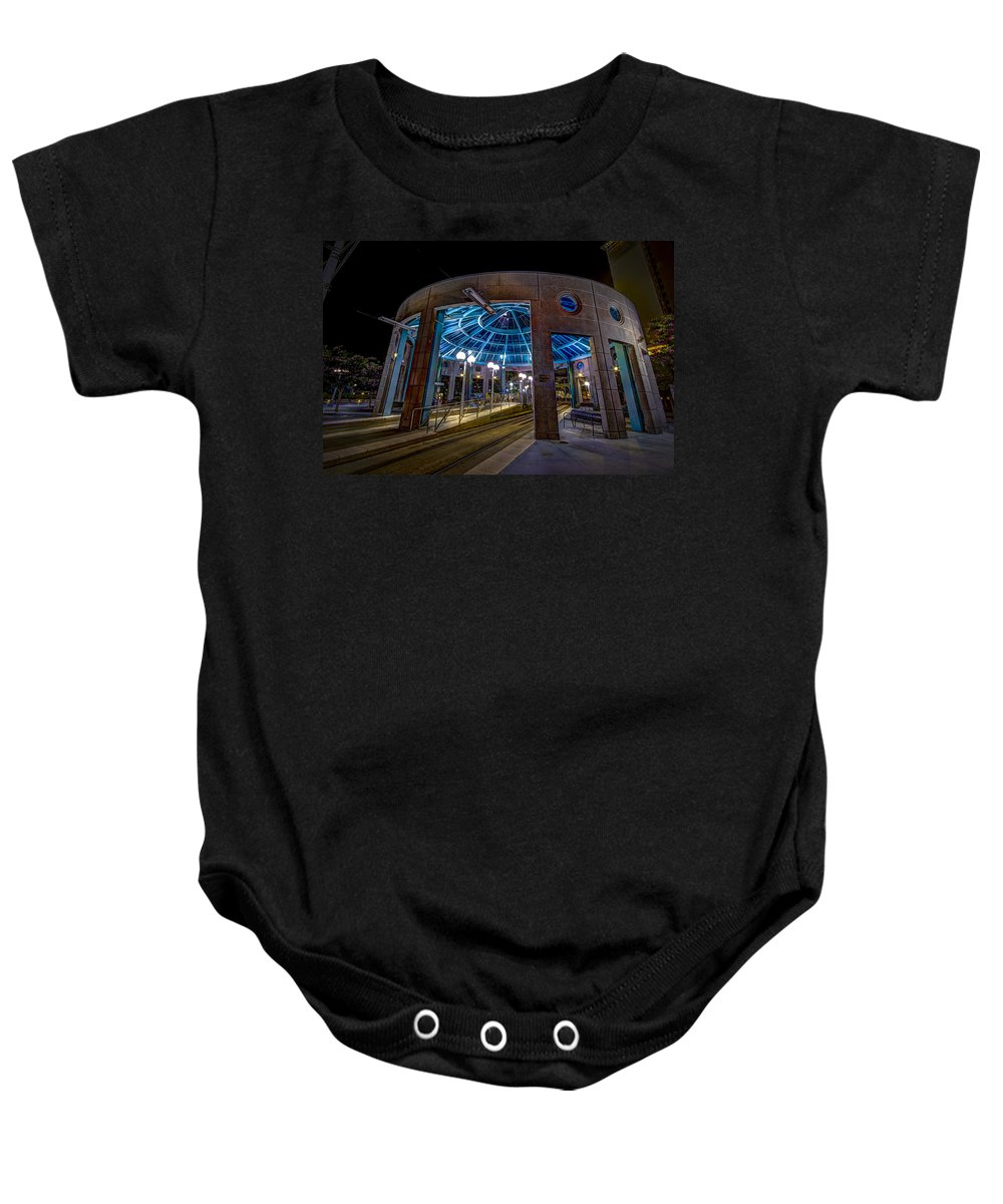 Street Car Baby Onesie featuring the photograph Greco Plaza by Marvin Spates