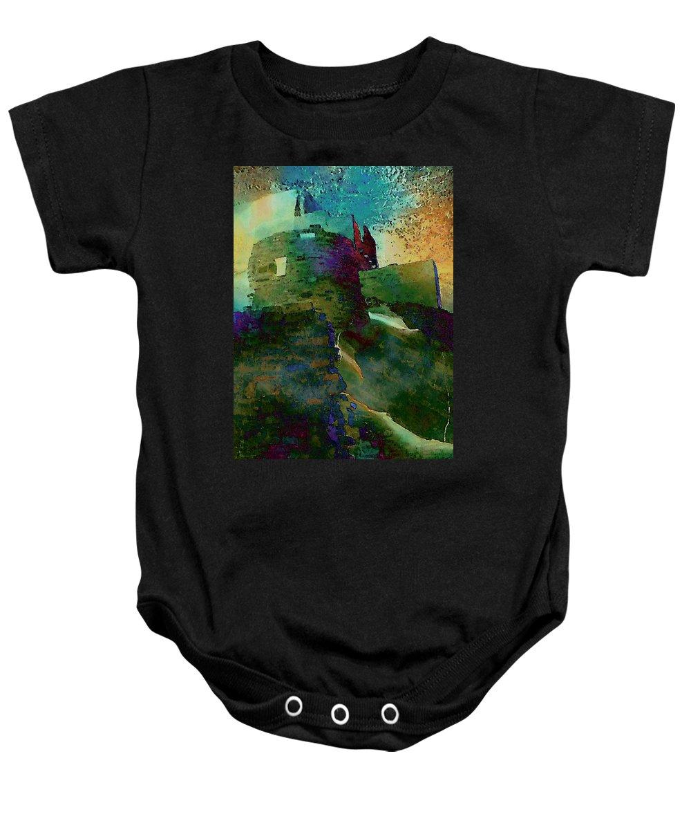 Digital Baby Onesie featuring the digital art Green Castle by David Hansen