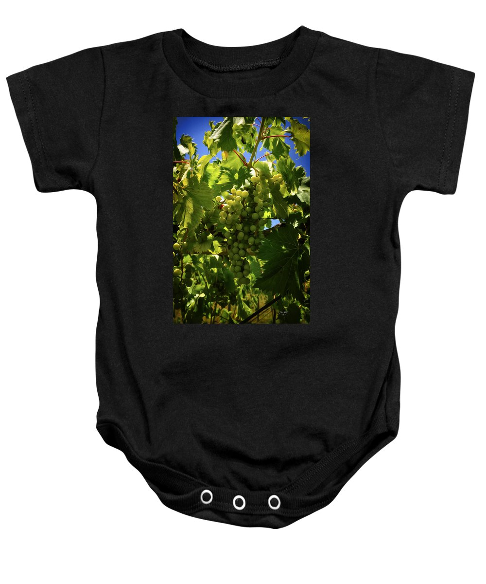 Grapes Baby Onesie featuring the painting Green Grapes On The Vine by Tom Bell