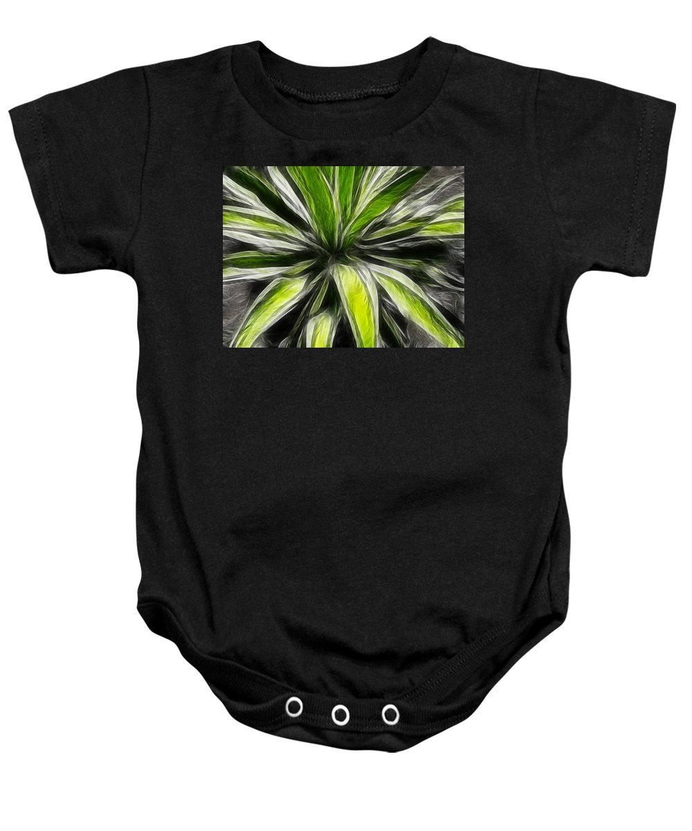 Plant Baby Onesie featuring the digital art Green Tidings Of Joy by Bobbie Barth