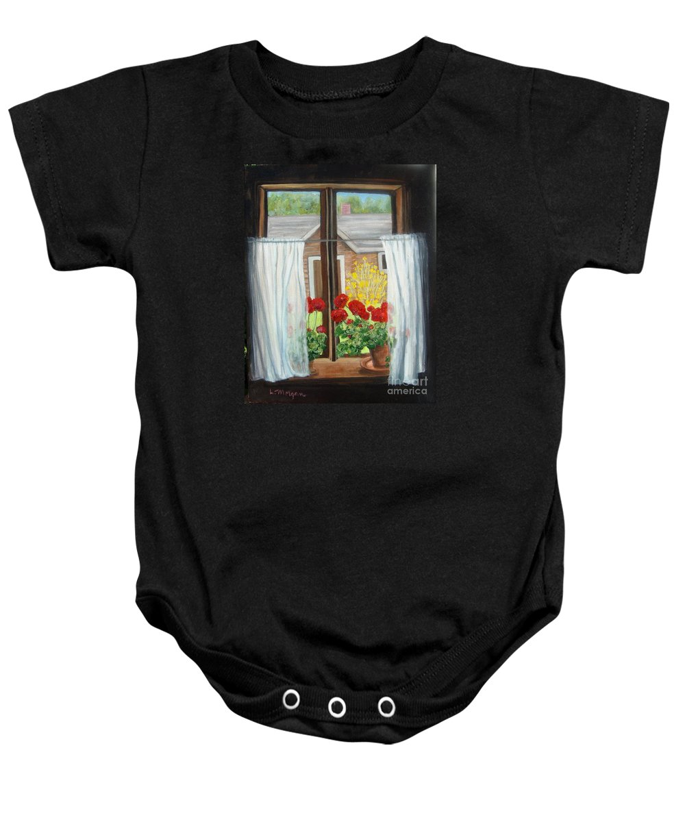 Windows Baby Onesie featuring the painting Greet The Day by Laurie Morgan