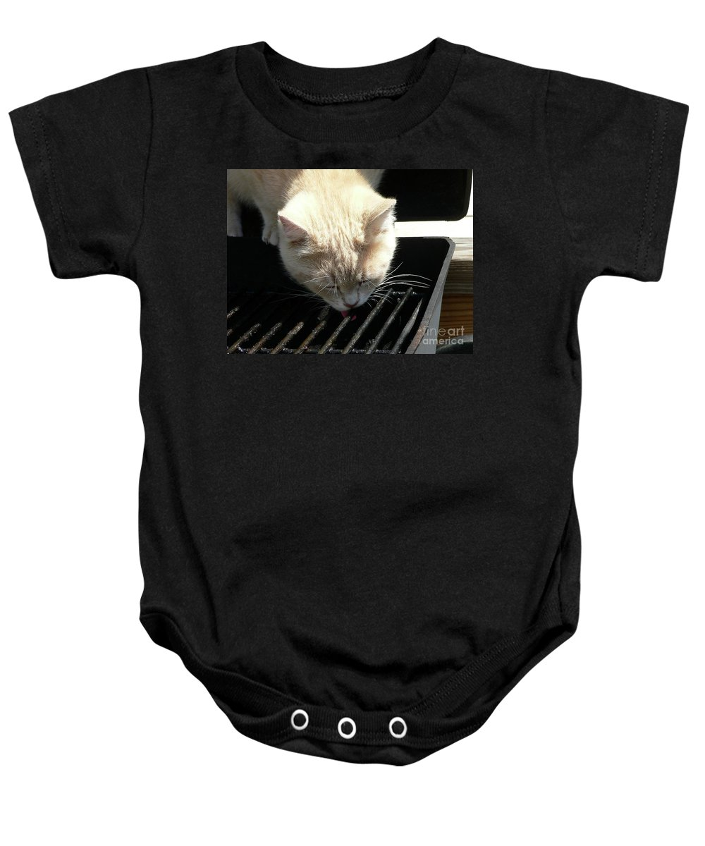 Pet Baby Onesie featuring the photograph Grill Grate Gato by Al Powell Photography USA