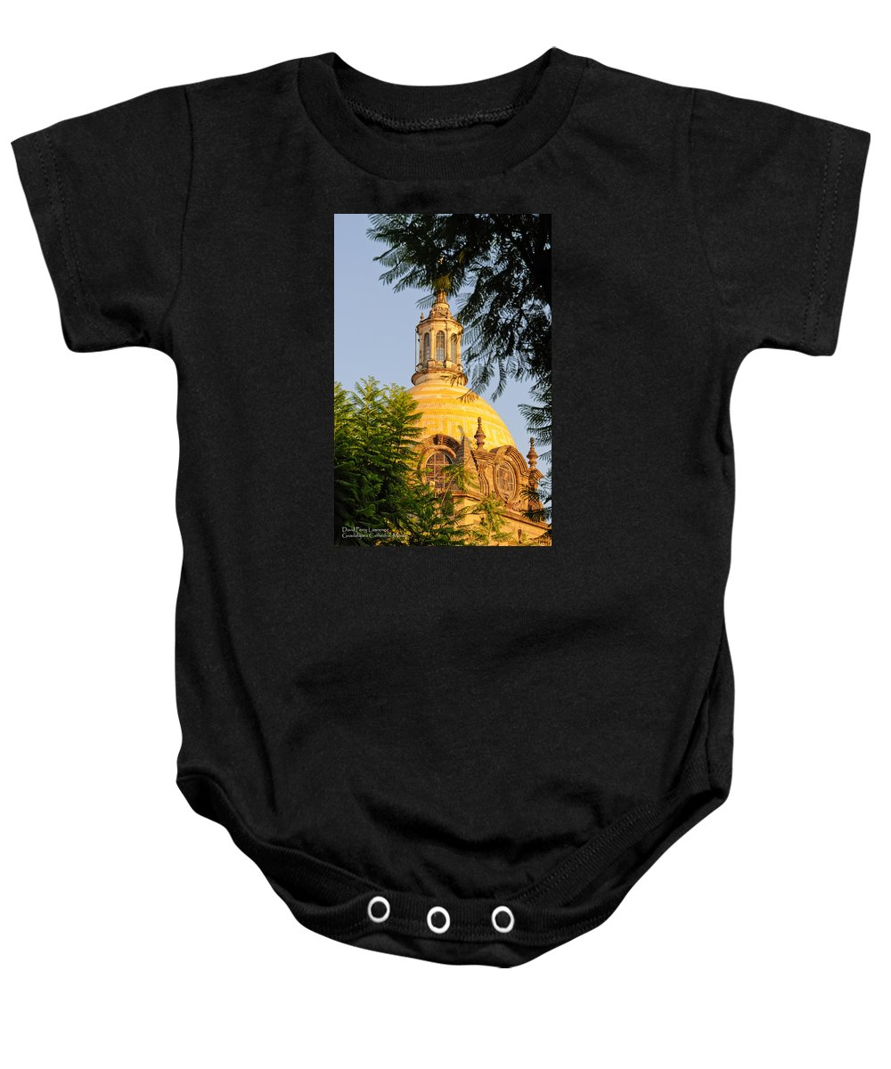 Guadalajara Baby Onesie featuring the photograph The Grand Cathedral Of Guadalajara, Mexico - By Travel Photographer David Perry Lawrence by David Perry Lawrence