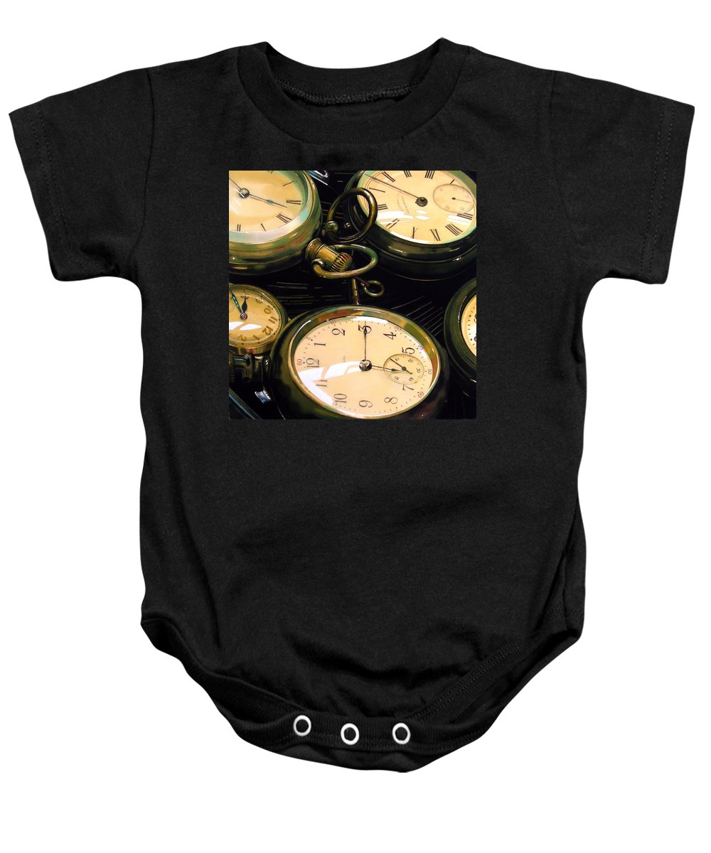 Clocks Baby Onesie featuring the painting Guardians Of Time by Denny Bond