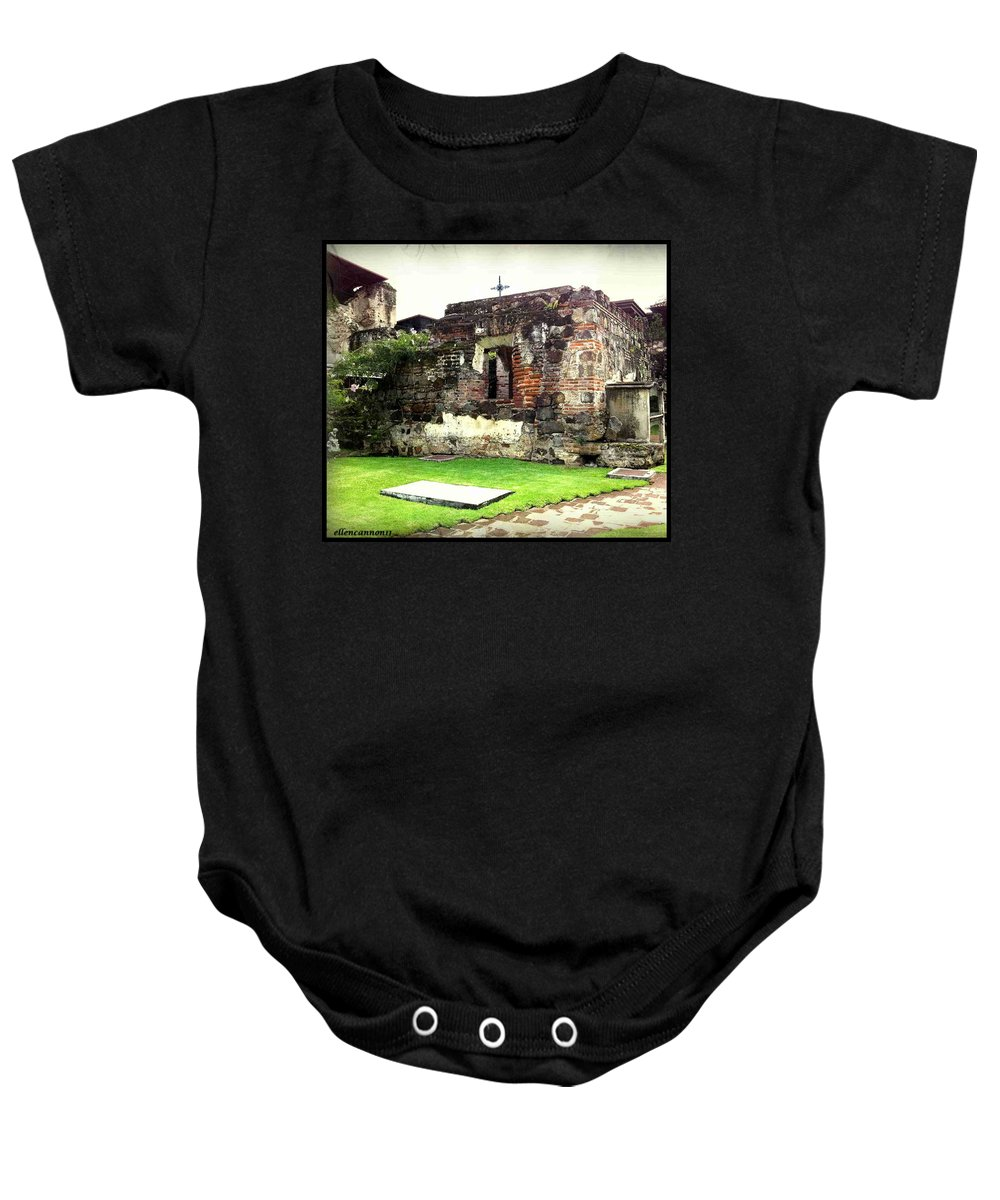 Ruins Baby Onesie featuring the photograph Guatemalan Church Courtyard Ruins by Ellen Cannon