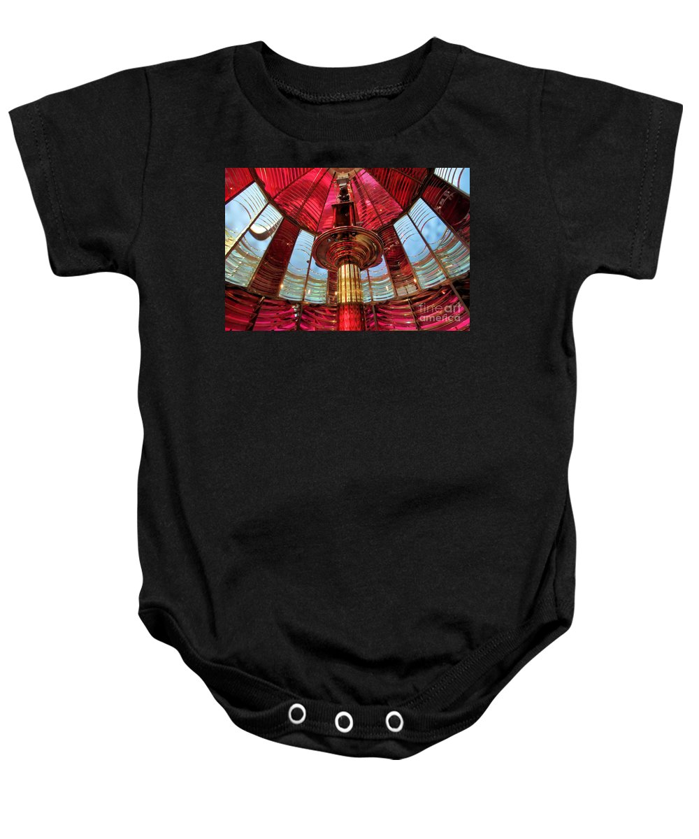 First Order Fresnel Lens Baby Onesie featuring the photograph Guiding Red Light by Adam Jewell