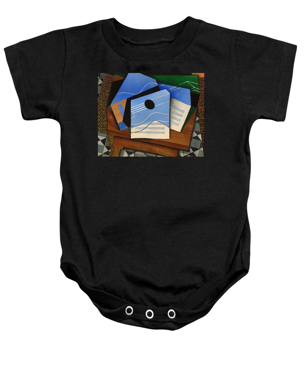 Painting Baby Onesie featuring the painting Guitar On A Table by Mountain Dreams