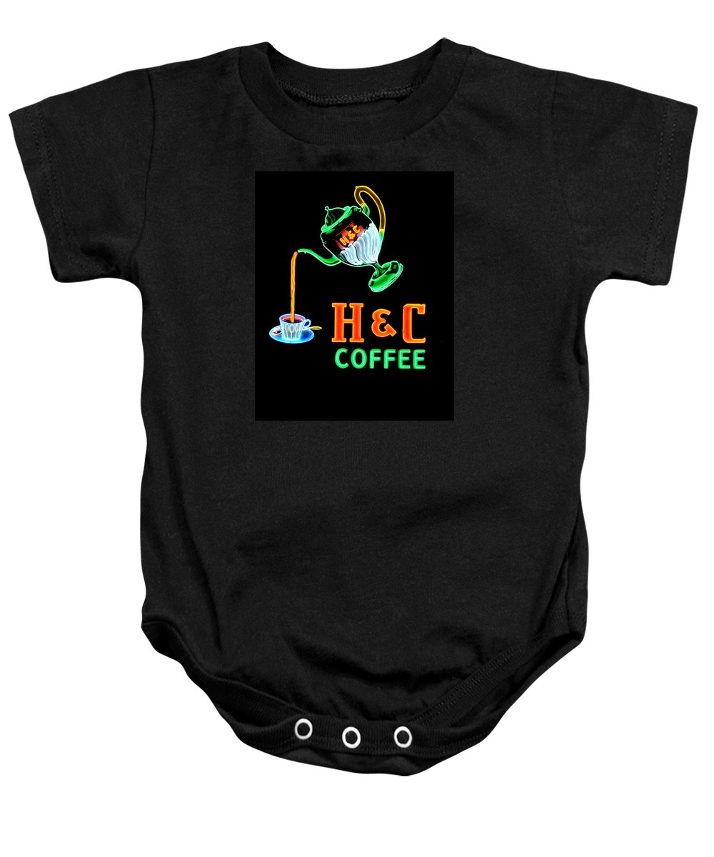 H&c Coffee Baby Onesie featuring the photograph H And C Sign by Eric Liller