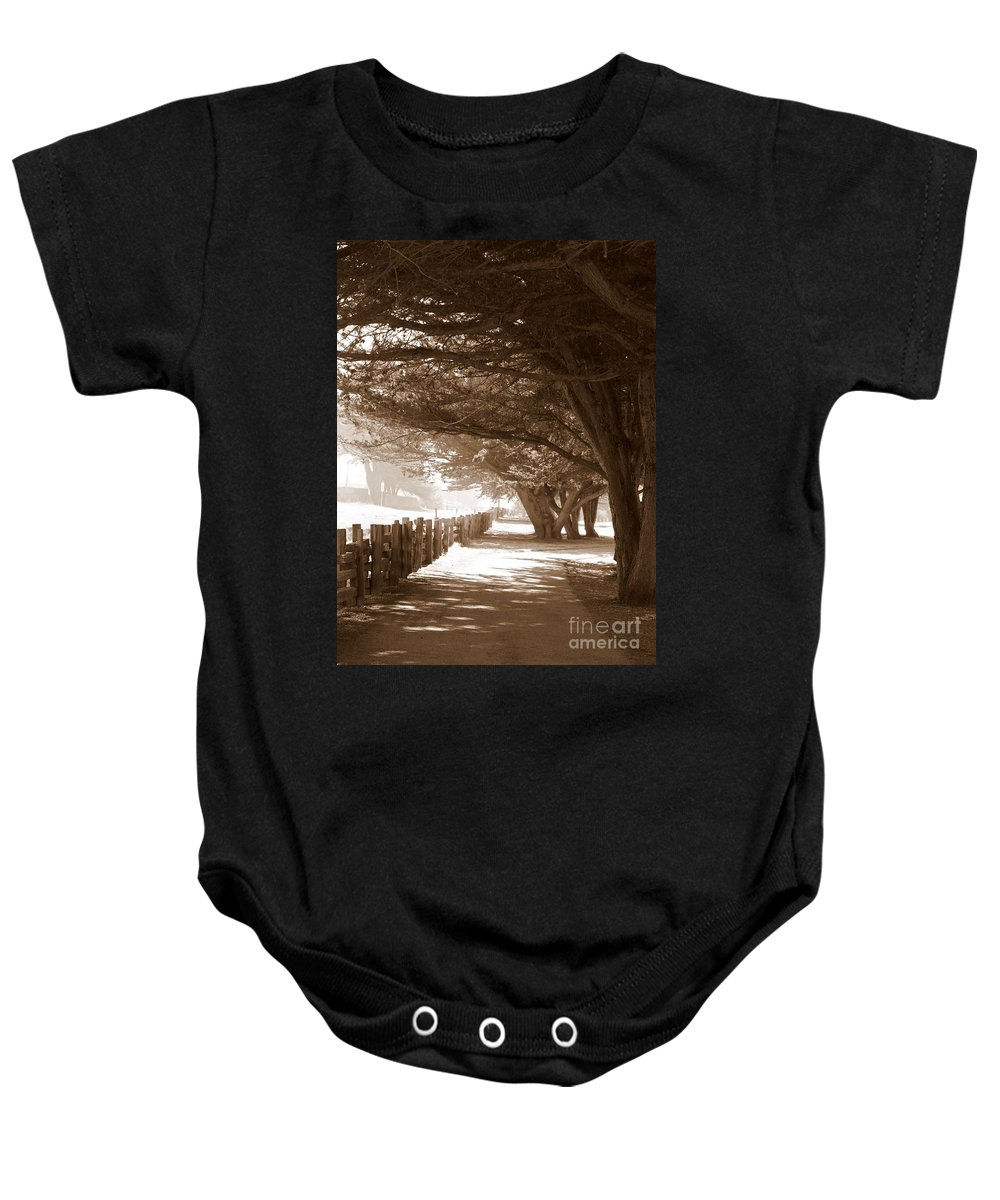 Sepia Baby Onesie featuring the photograph Half Moon Bay Pathway by Carol Groenen