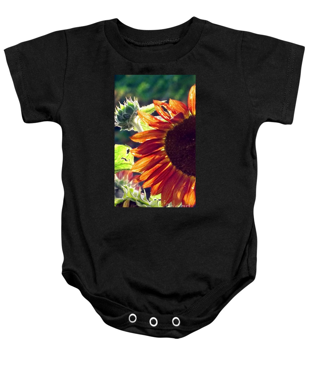 Sunflower Baby Onesie featuring the photograph Half Of A Sunflower by Madeline Ellis