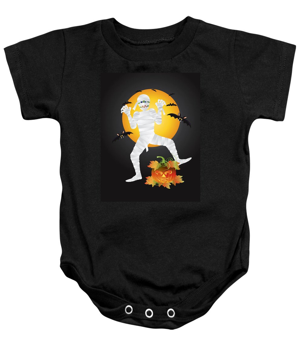 Halloween Baby Onesie featuring the photograph Halloween Mummy Carved Pumpkin Illustration by Jit Lim
