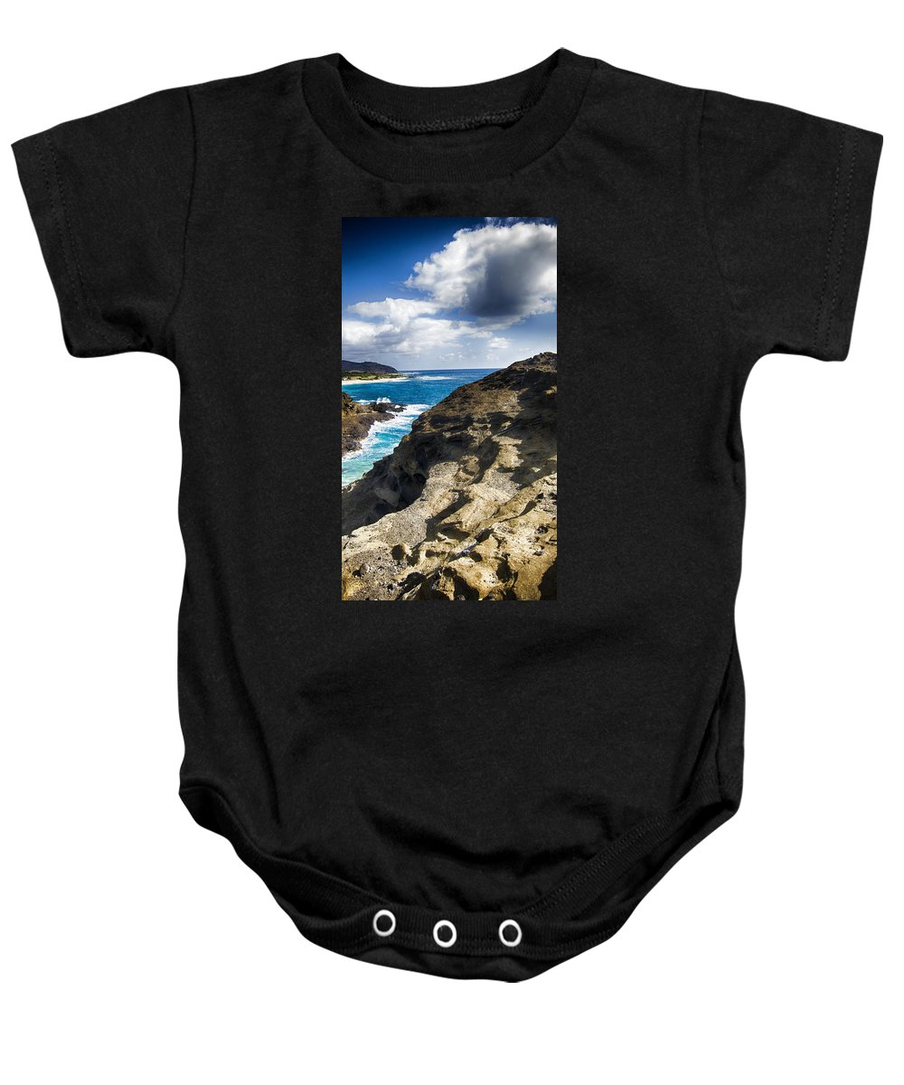 Halona Blowhole Lookout Baby Onesie featuring the photograph Halona Blowhole Lookout- Oahu Hawaii V2 by Douglas Barnard