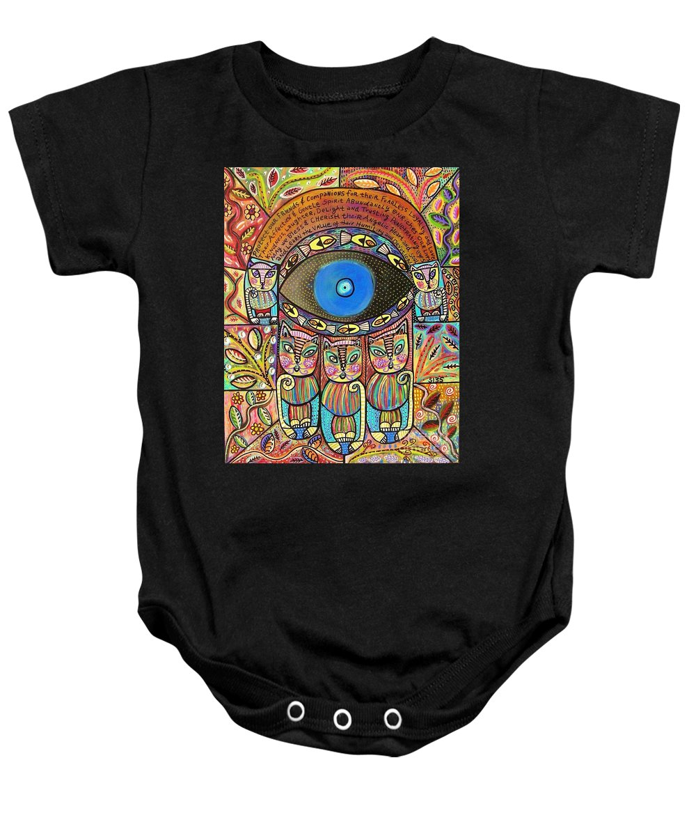 Baby Onesie featuring the painting Hamsa Cat Blessing by Sandra Silberzweig