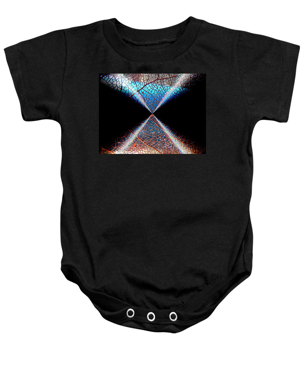 Abstract Baby Onesie featuring the photograph Hanging On by Bobbie Barth