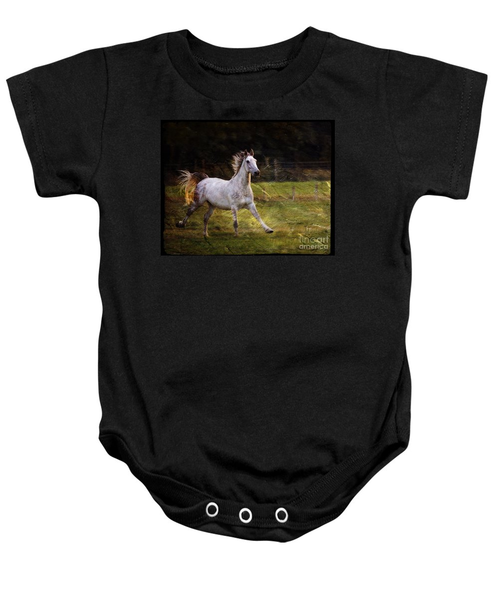 Grey Horse Baby Onesie featuring the photograph Happy Run by Angel Ciesniarska
