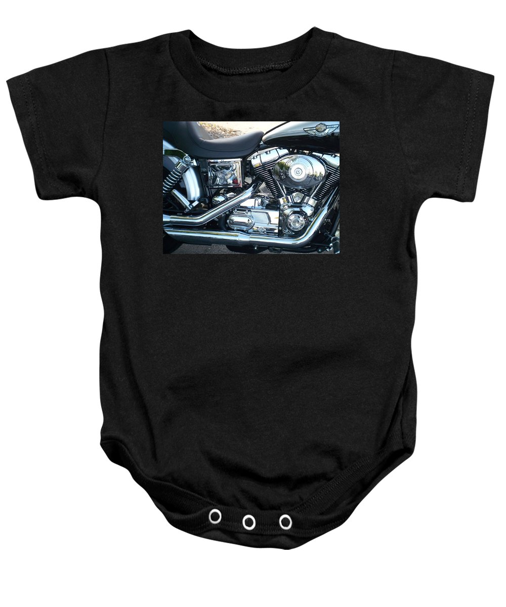 Motorcycles Baby Onesie featuring the photograph Harley Black And Silver Sideview by Anita Burgermeister