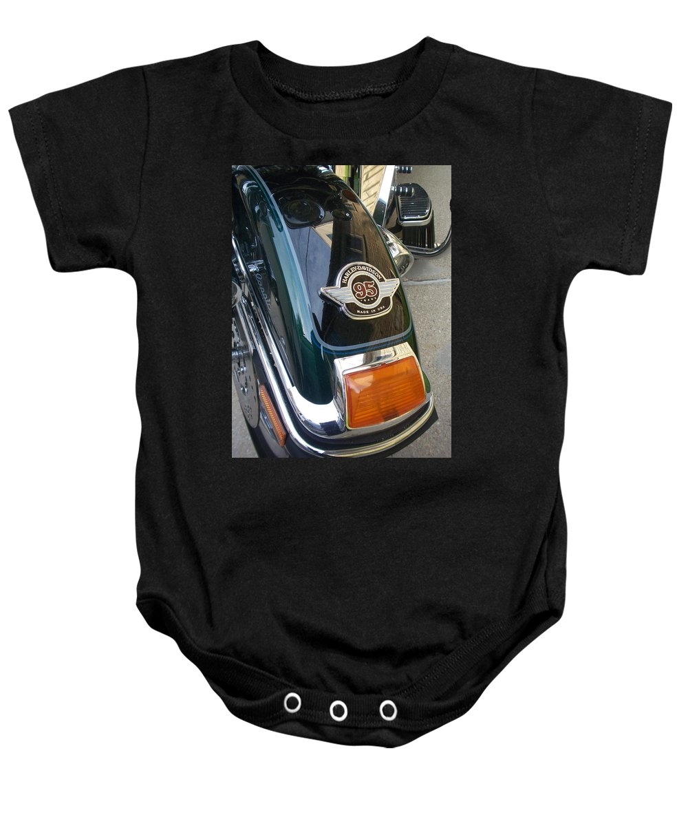 Motorcycles Baby Onesie featuring the photograph Harley Close-up Tail Light by Anita Burgermeister